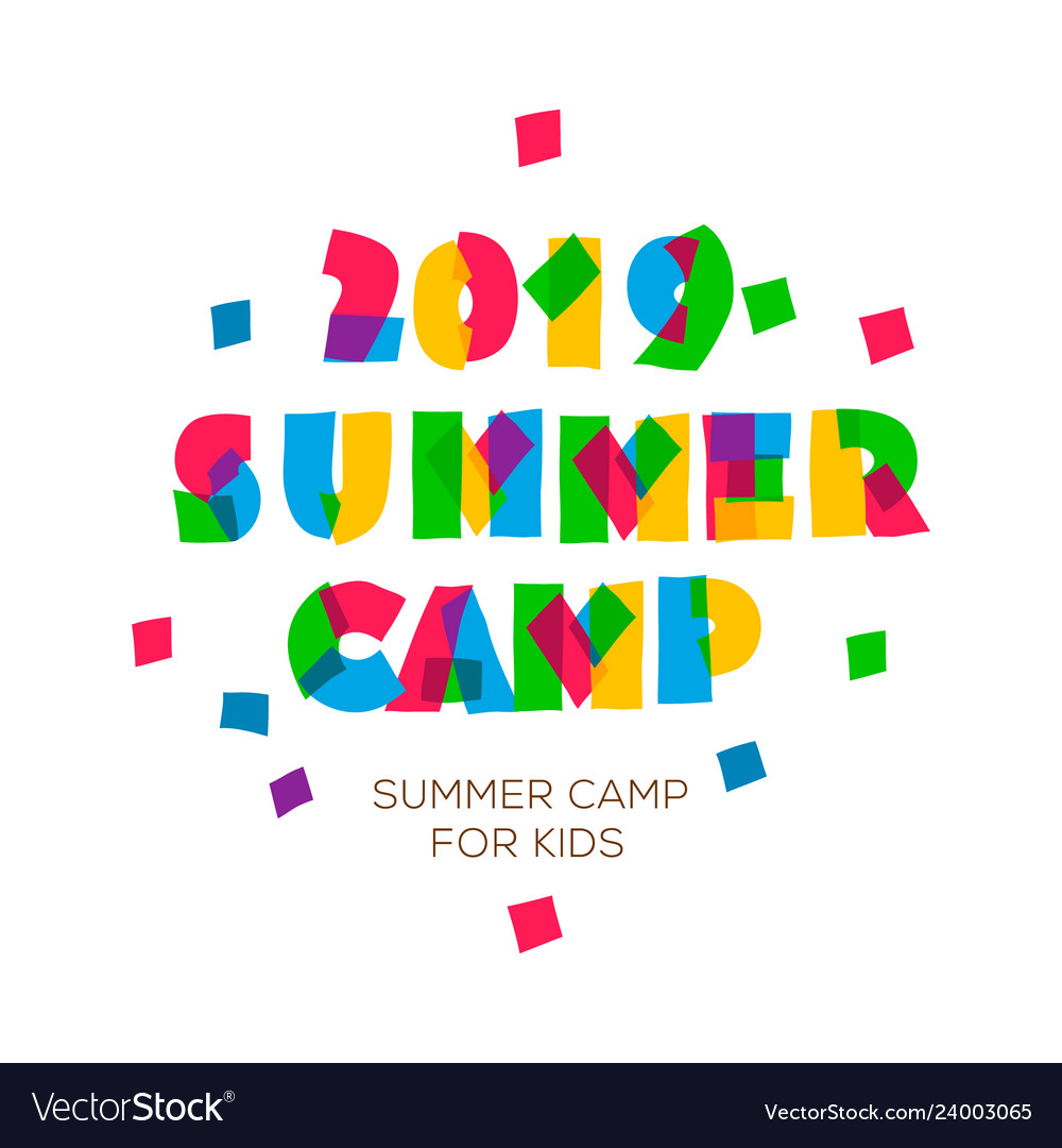 Themed summer camp 2019 poster in flat style