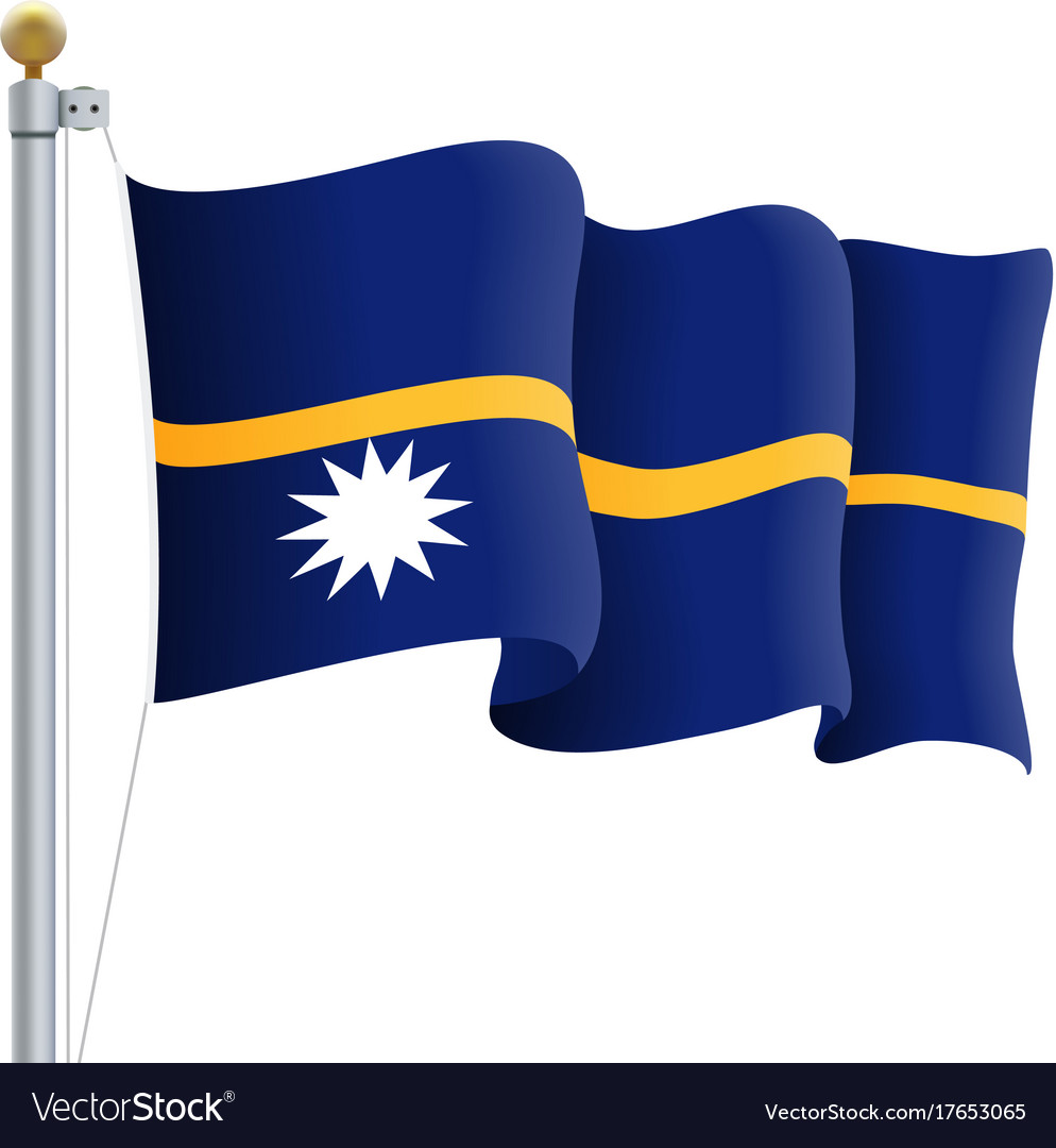 Waving nauru flag isolated on a white background vector image