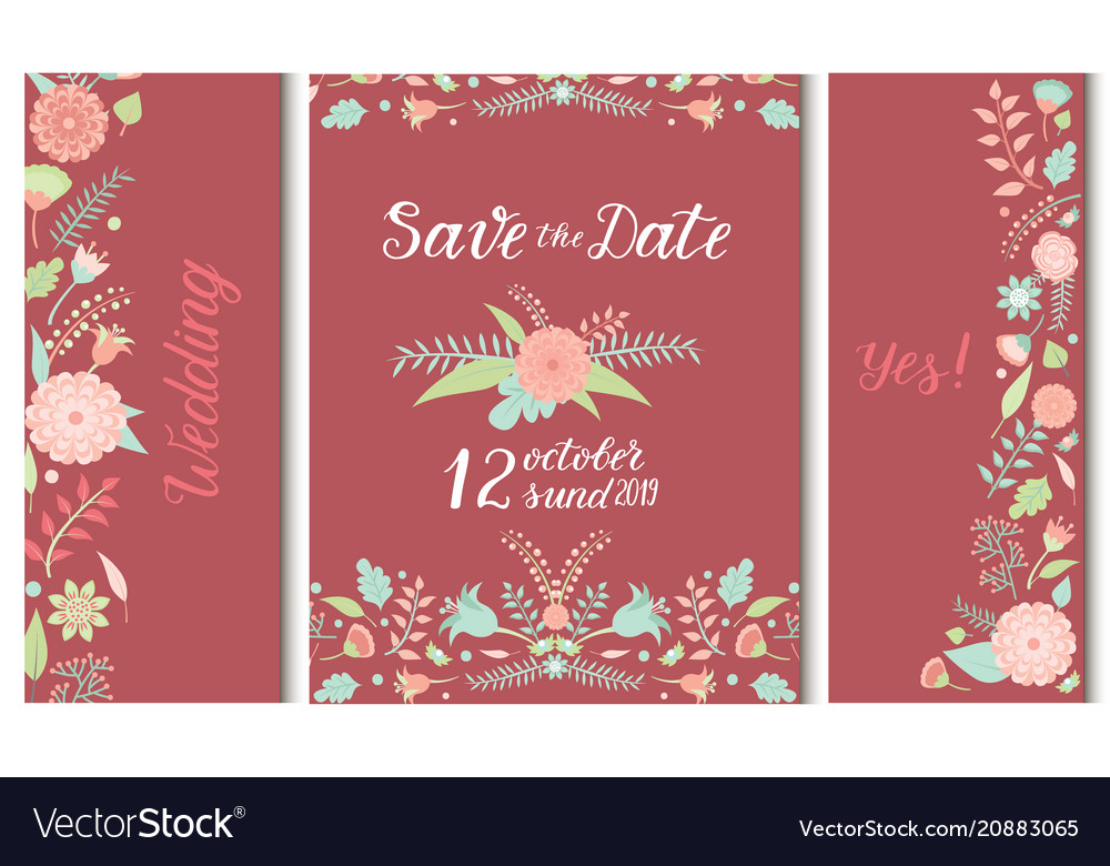 Wedding invitation card save the date suite