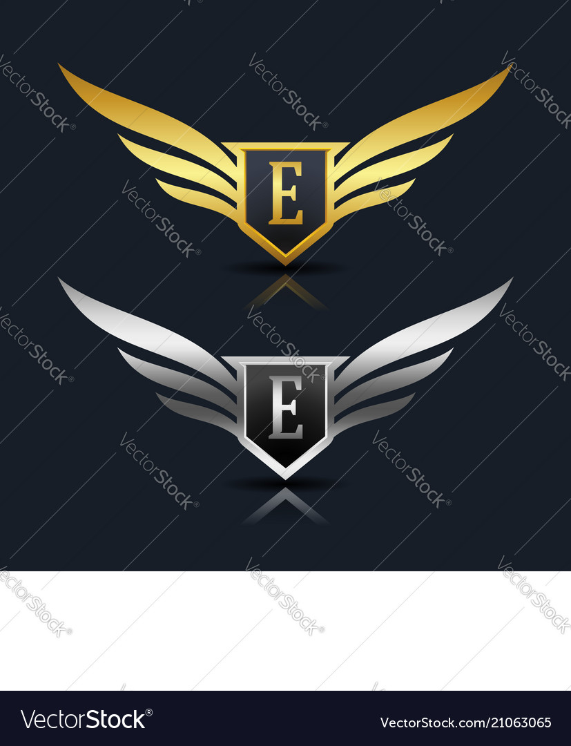 wings shield letter e logo template royalty free vector