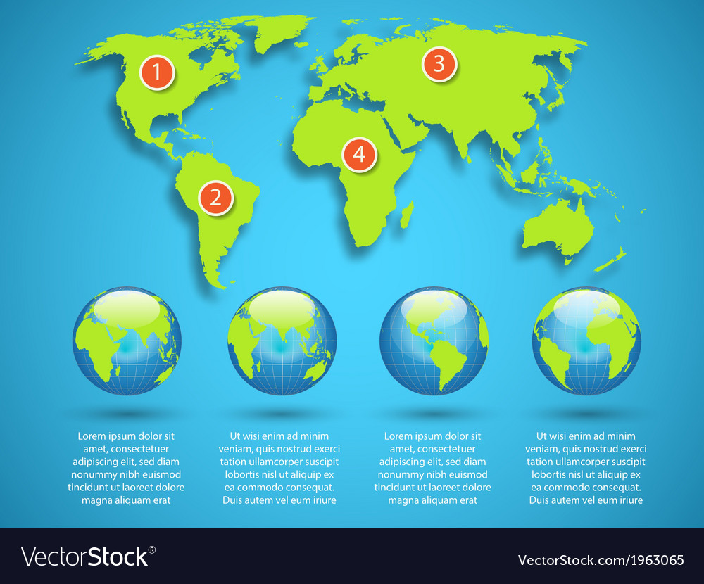 World map with globe infographic template vector image gumiabroncs Image collections
