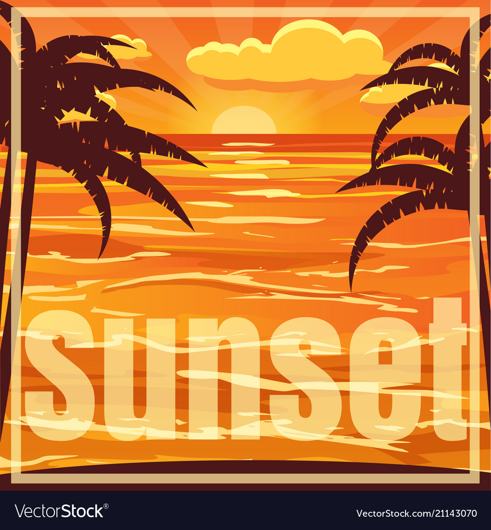 Beautiful Beach Sunset Landscape With Palm Vector Image