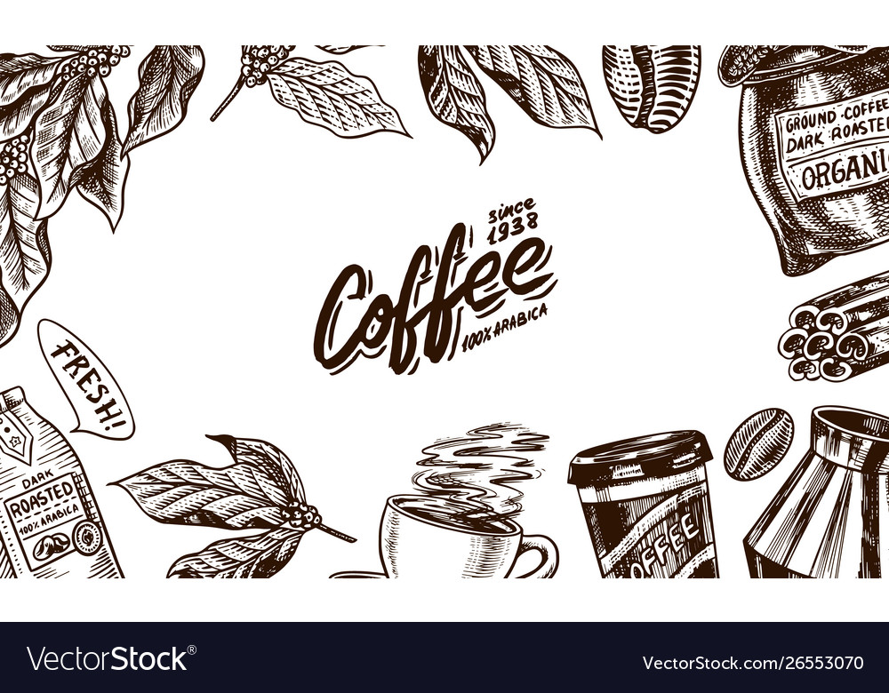 Coffee background in vintage style hand drawn