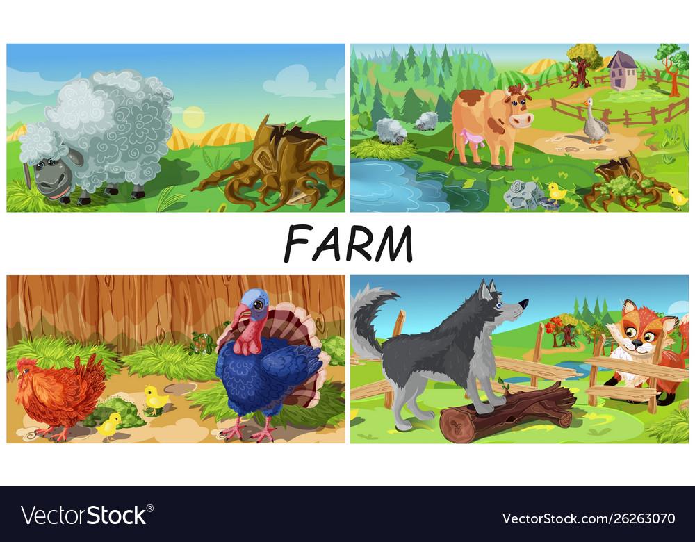 Colorful farm animals concept