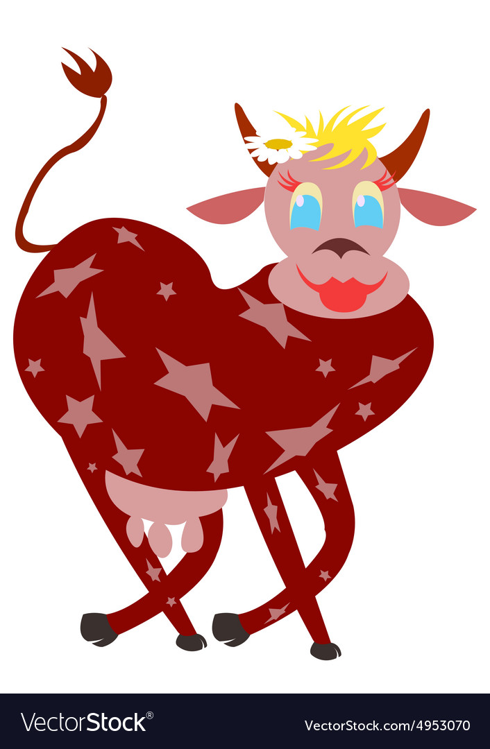 Cow super star vector image