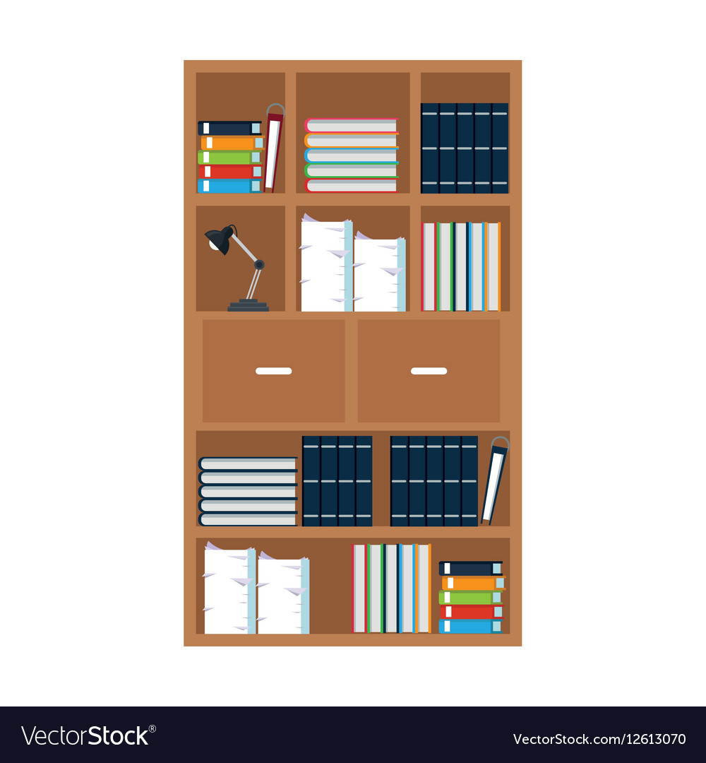 office book shelf painted build in furniture office library bookshelf lamp vector image royalty free vector