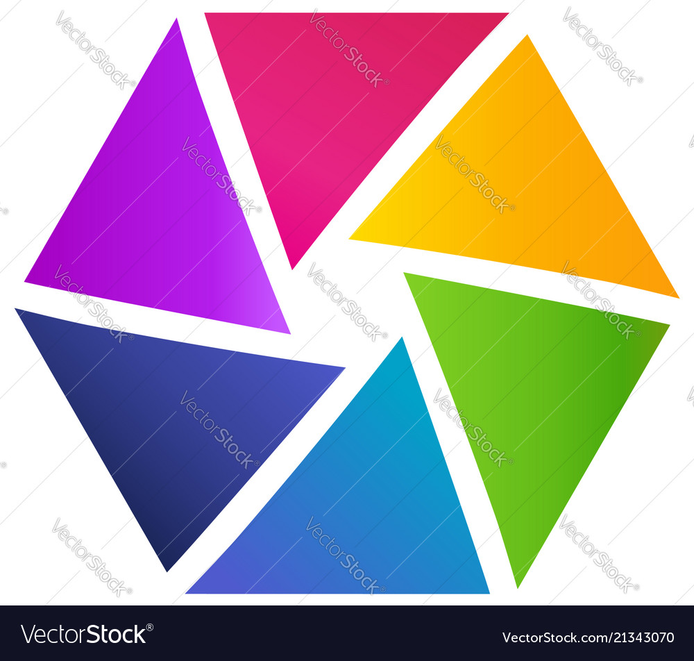 Hexagon shape made of triangles creative shape