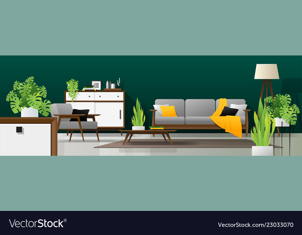 interior background of modern living room vector image