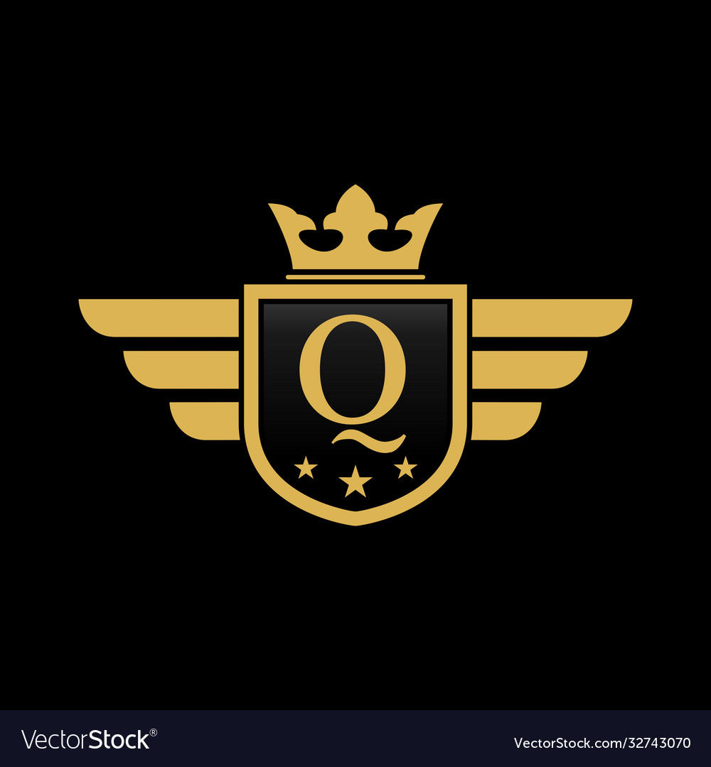 Letter q shield wing