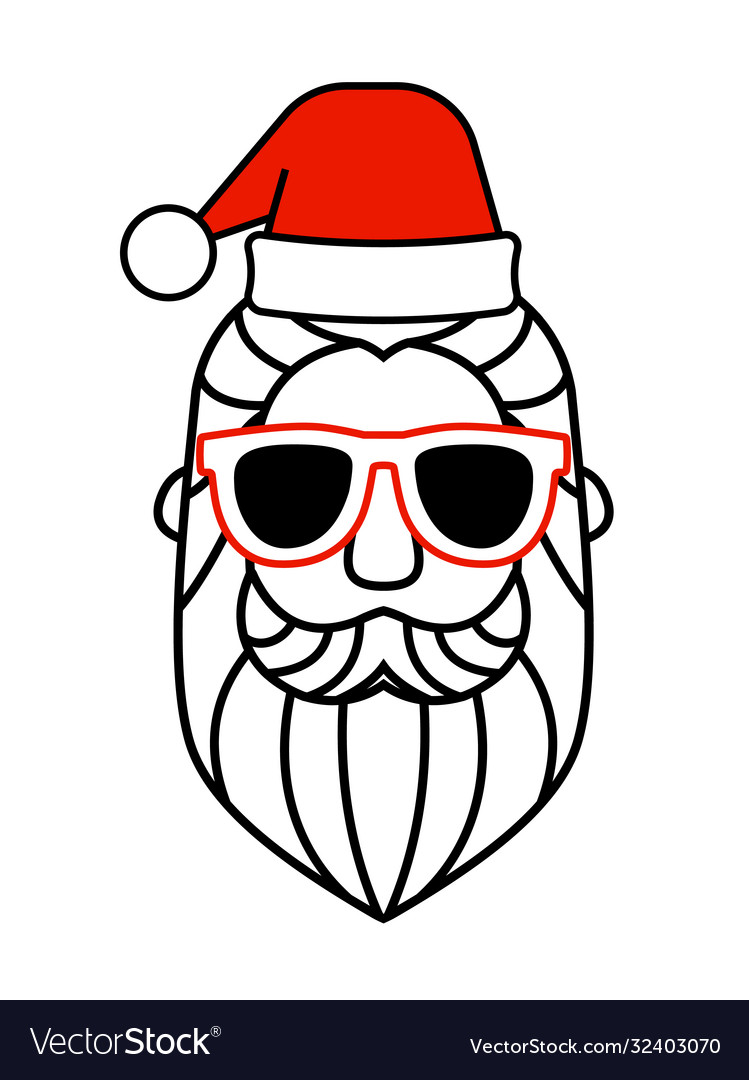 Santa claus hat and sunglasses icon