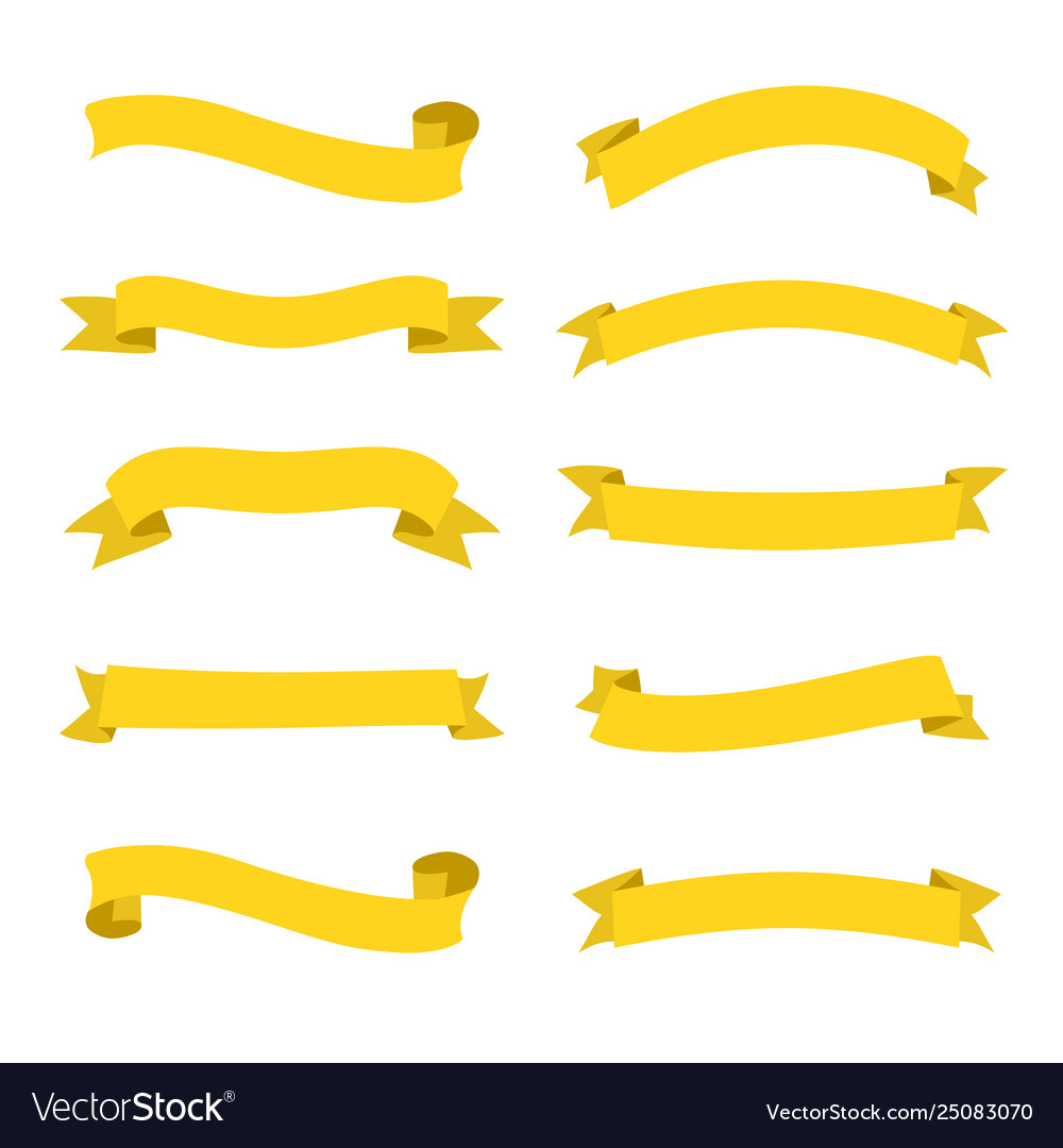 Set yellow ribbons banners flat design