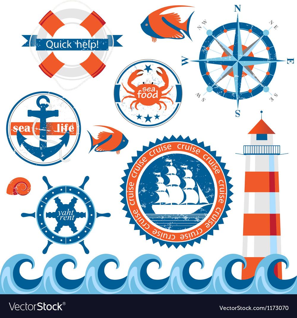 Stylized sea emblems vector image