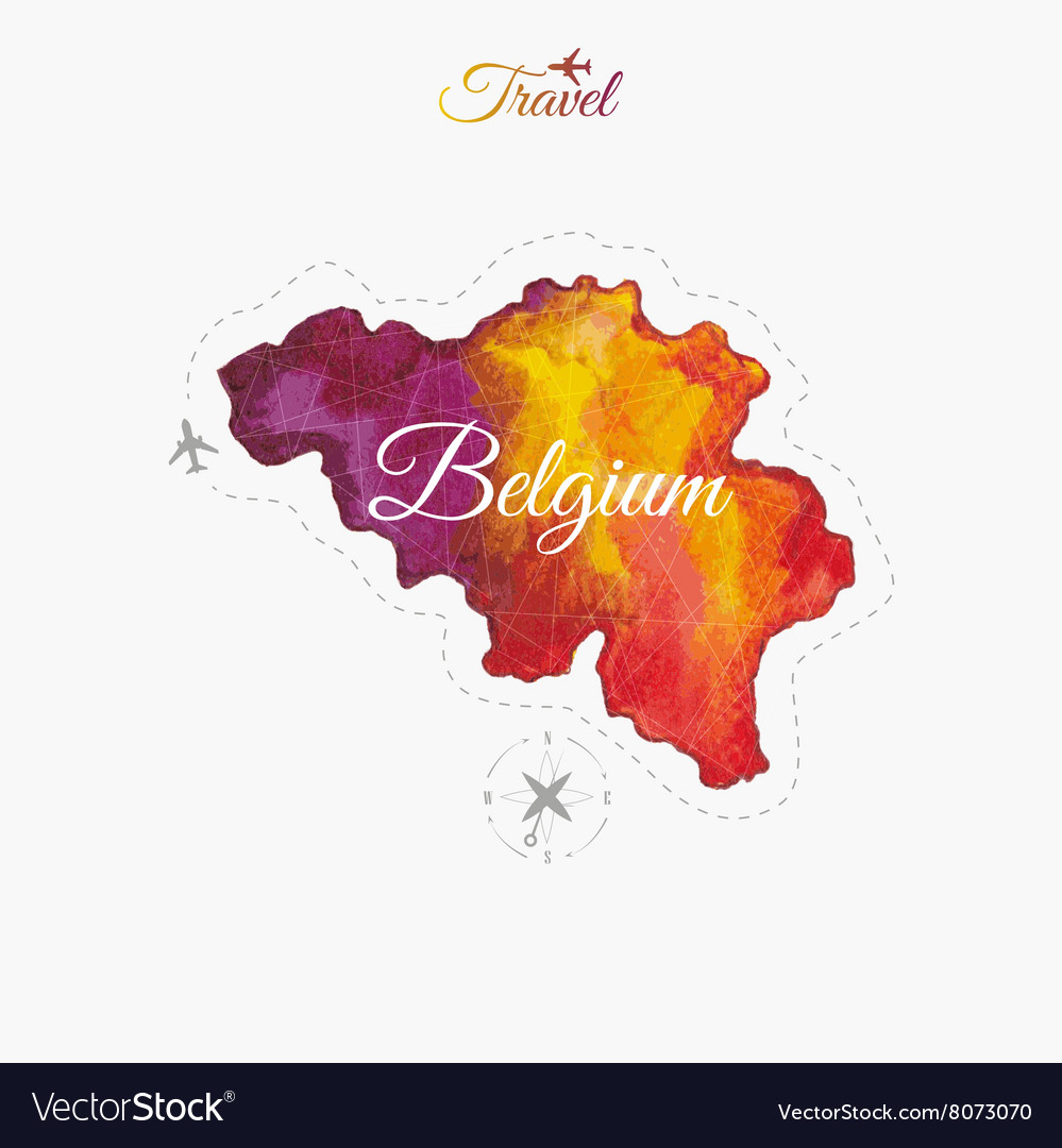 Travel around the world Belgium Watercolor map