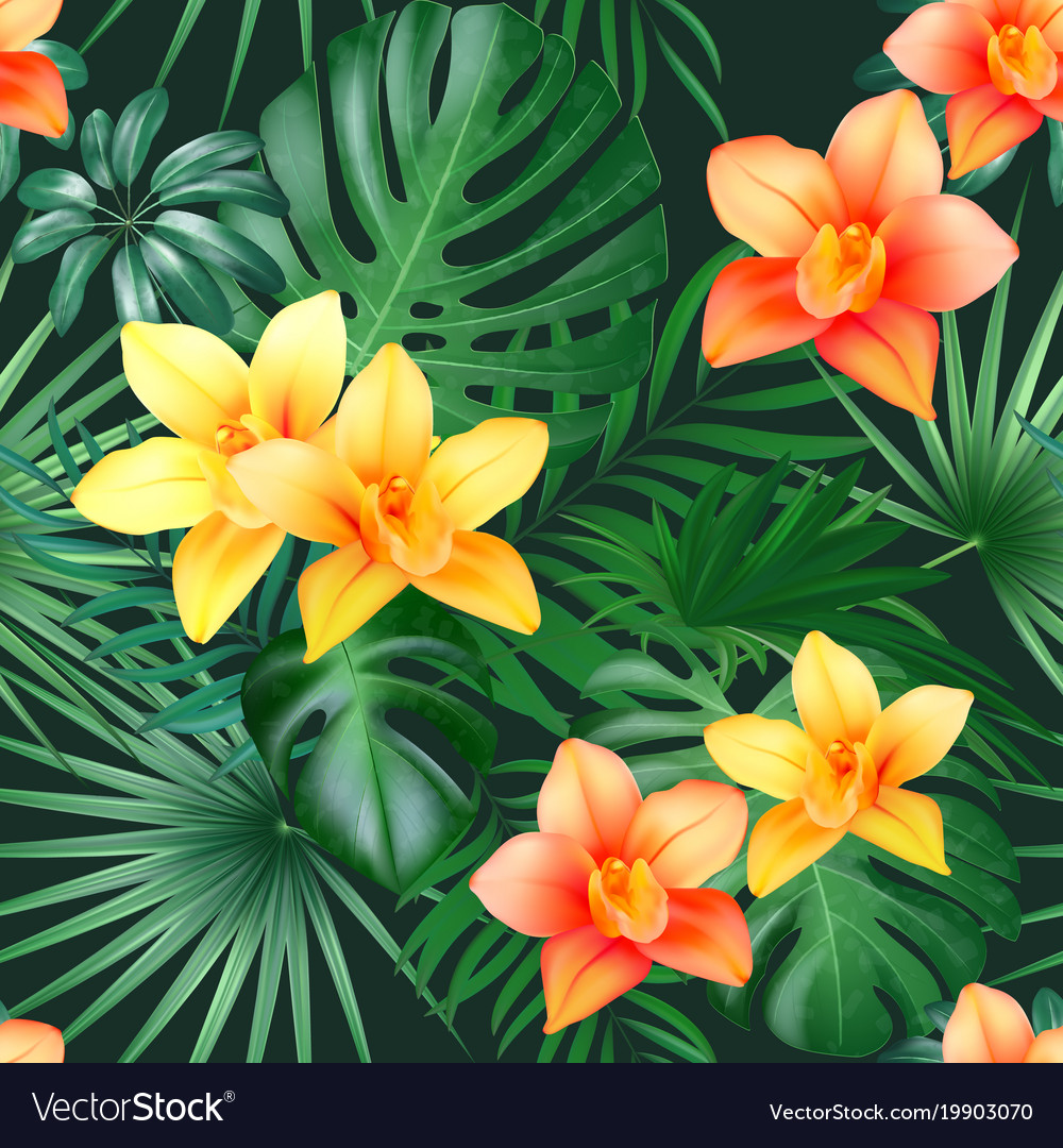 Tropical palm leaves and orchid flowers background