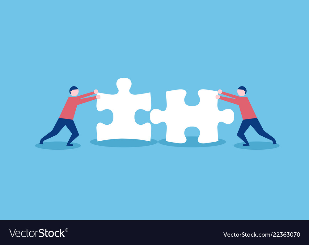Two flat style people connecting puzzle elements