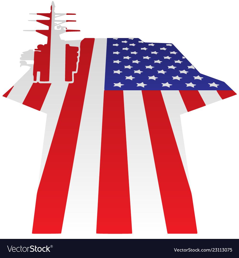 Aircraft carrier flight deck american flag