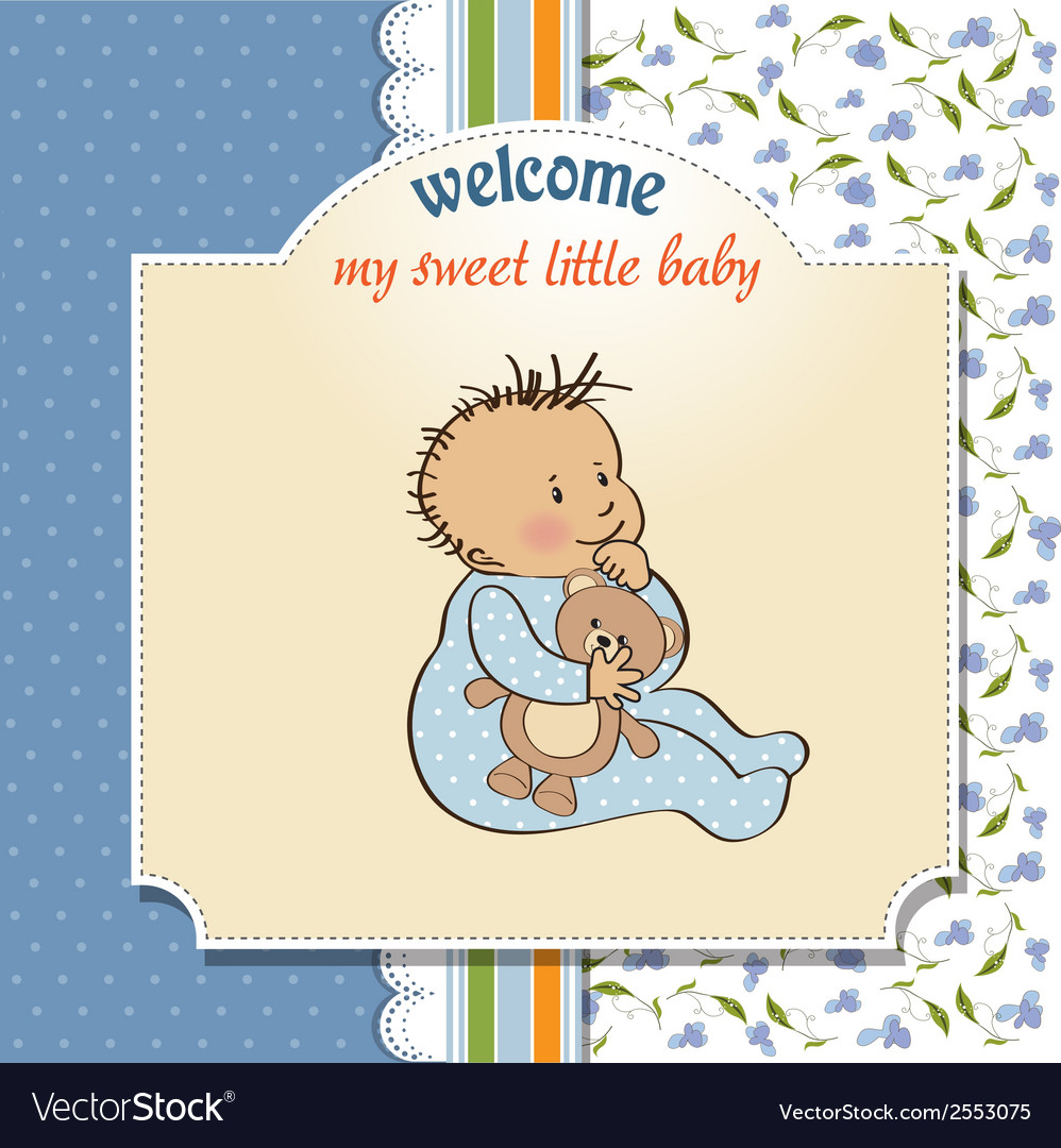 baby announcement card with little boy royalty free vector