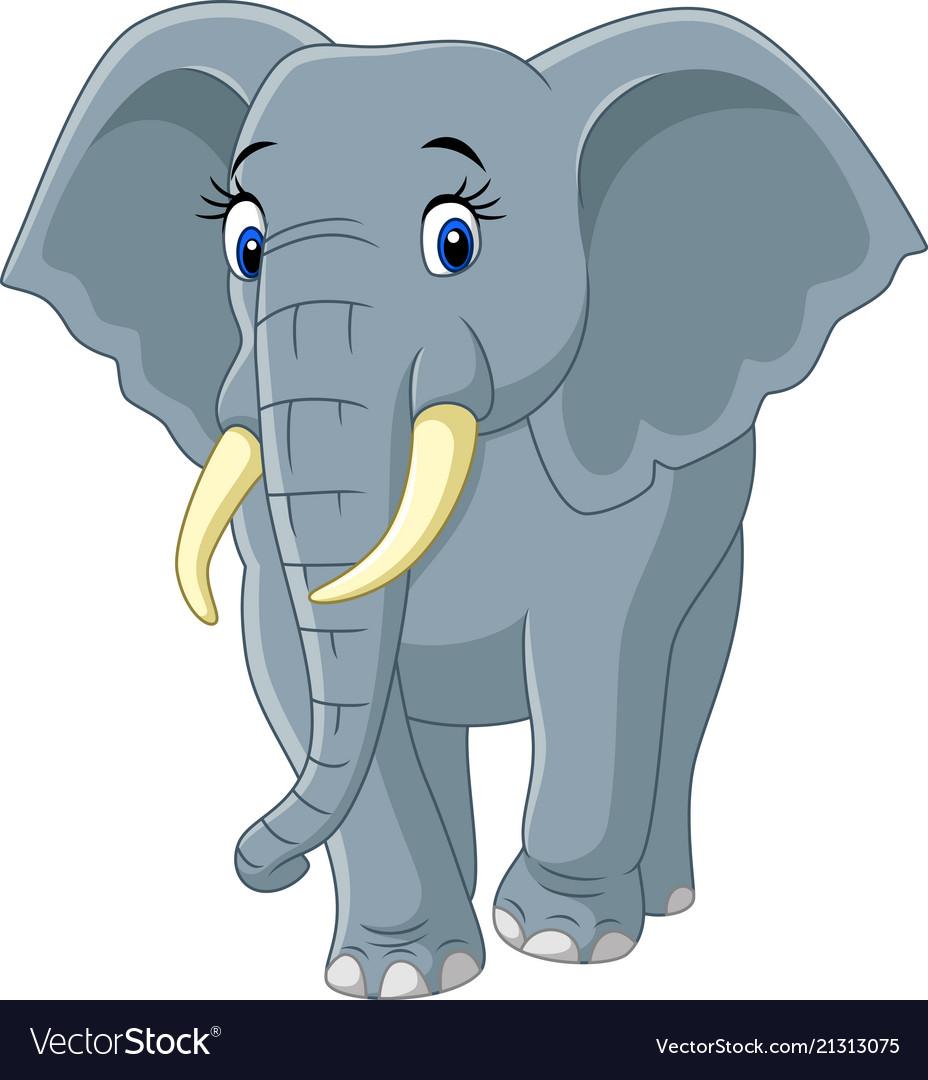 Cartoon Funny Elephant Isolated On White Backgroun