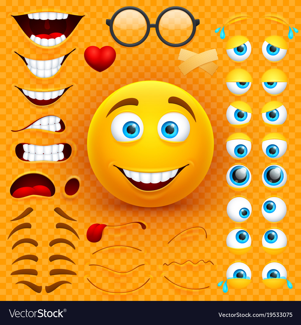 cartoon yellow 3d smiley face character royalty free vector