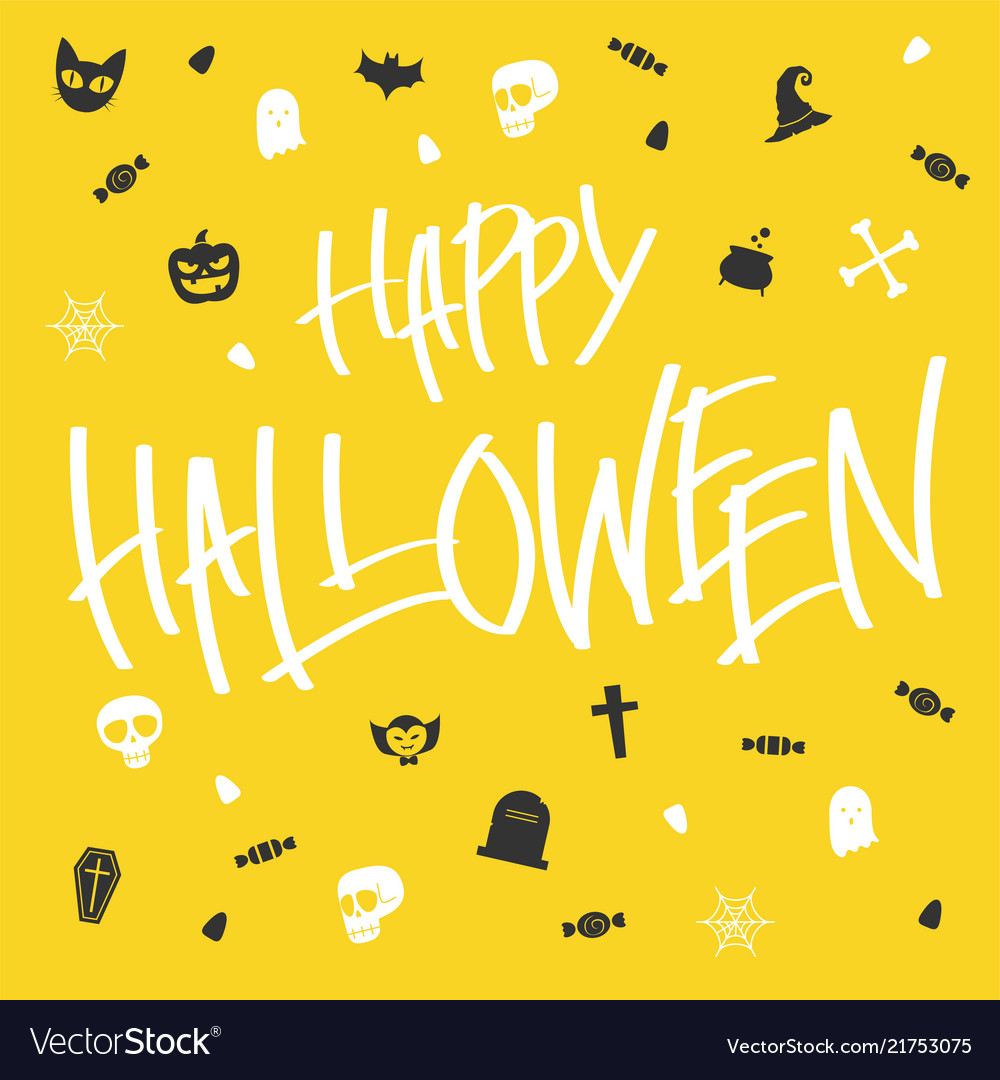 Hallween card lettering and icon