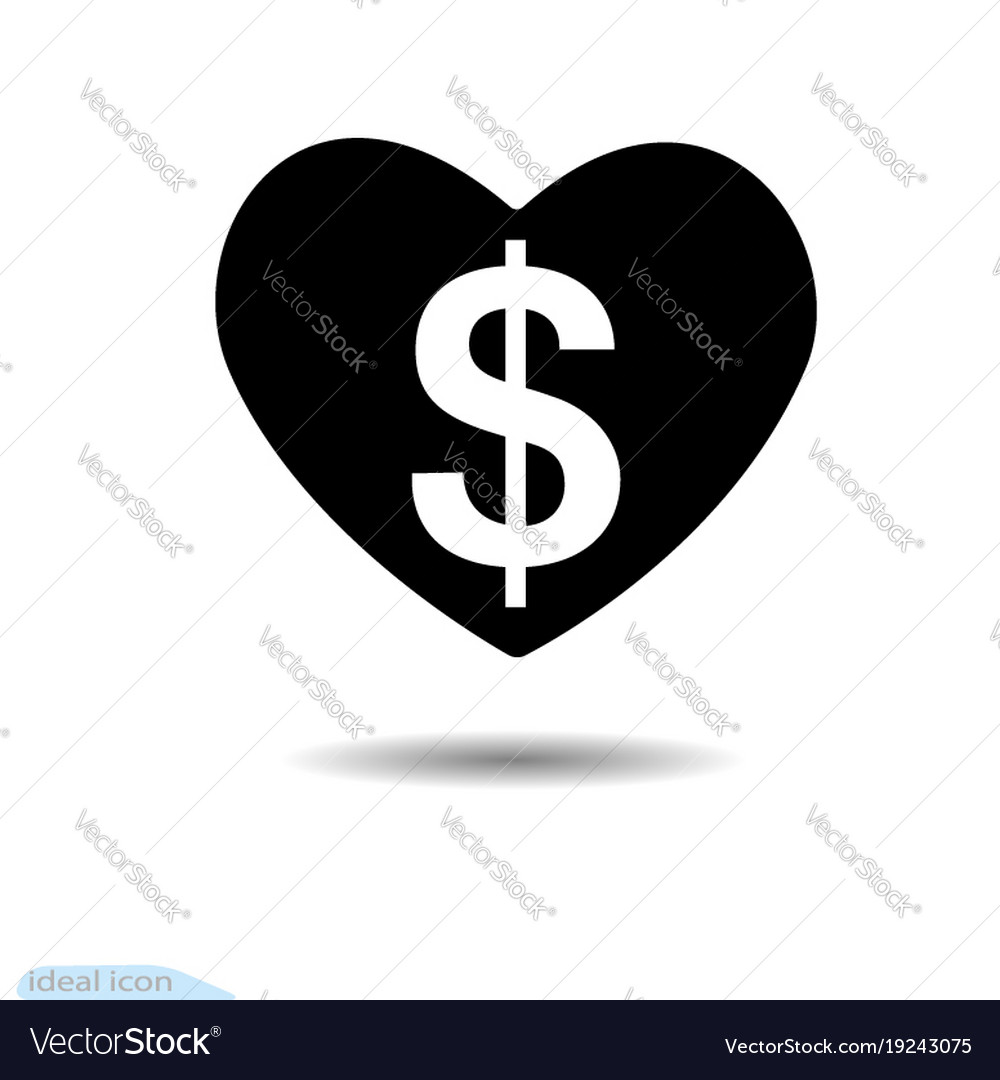 Heart Icon Dollar A Symbol Of Love Valentine Vector Image