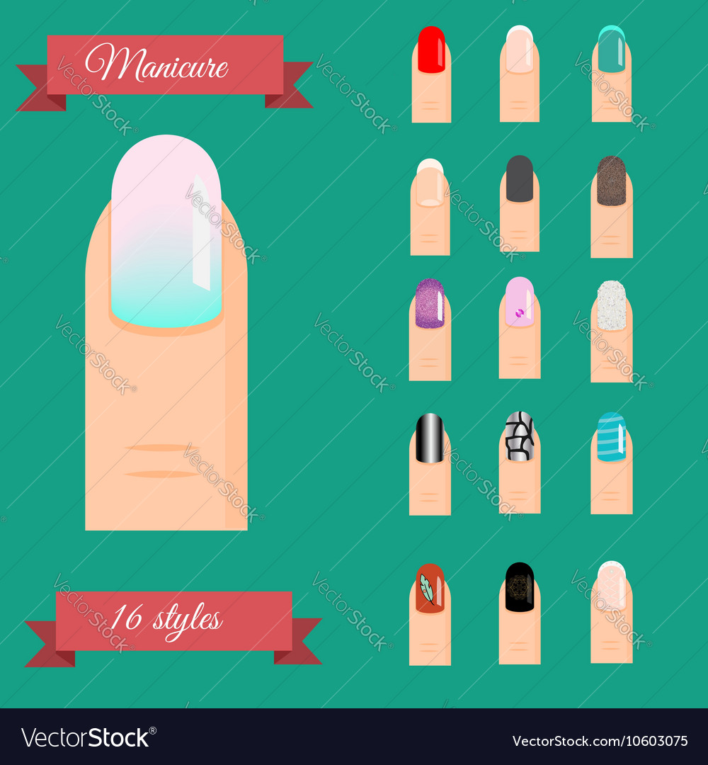 Manicure Types Nail Design Art Set Royalty Free Vector Image