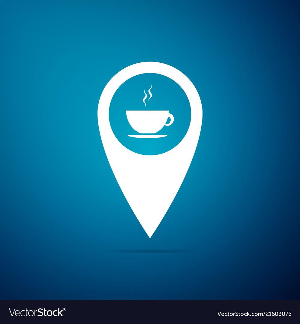 Map pointer with hot coffee cup icon isolated