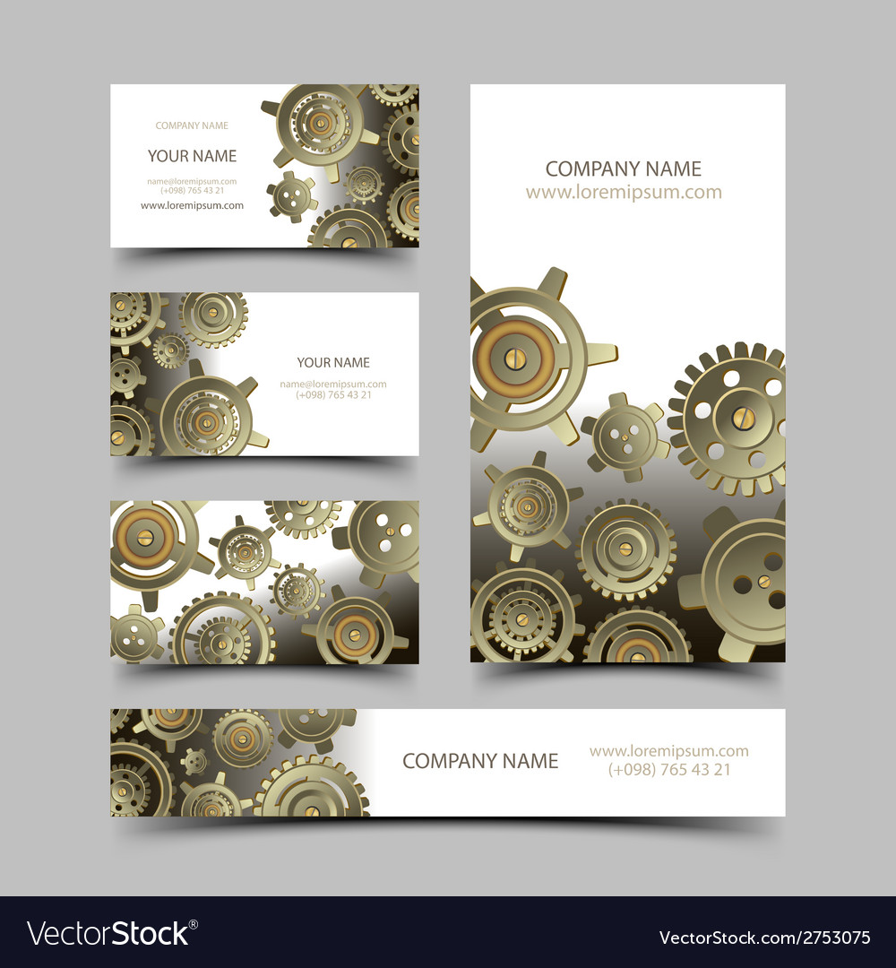 Mechanic Business Cards Set Royalty Free Vector Image