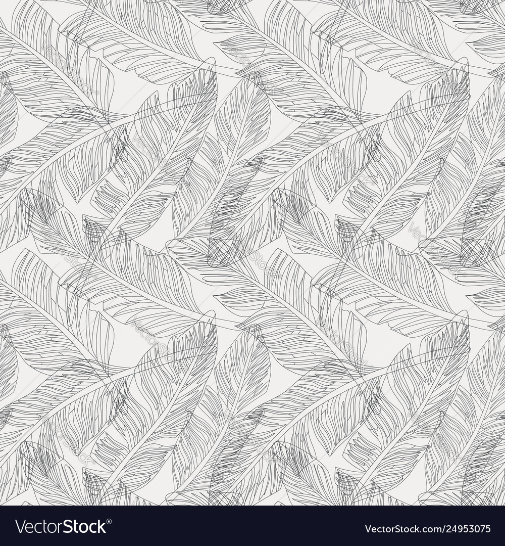 Outline palm leaves white background seamless