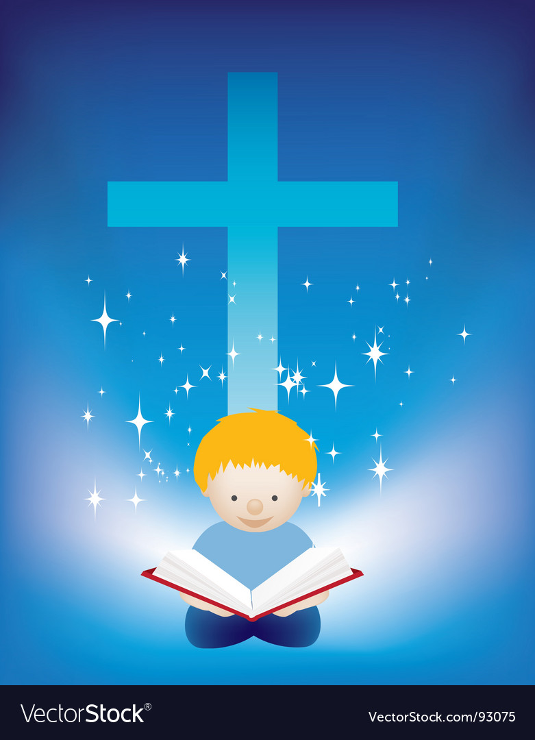 Reading bible vector image