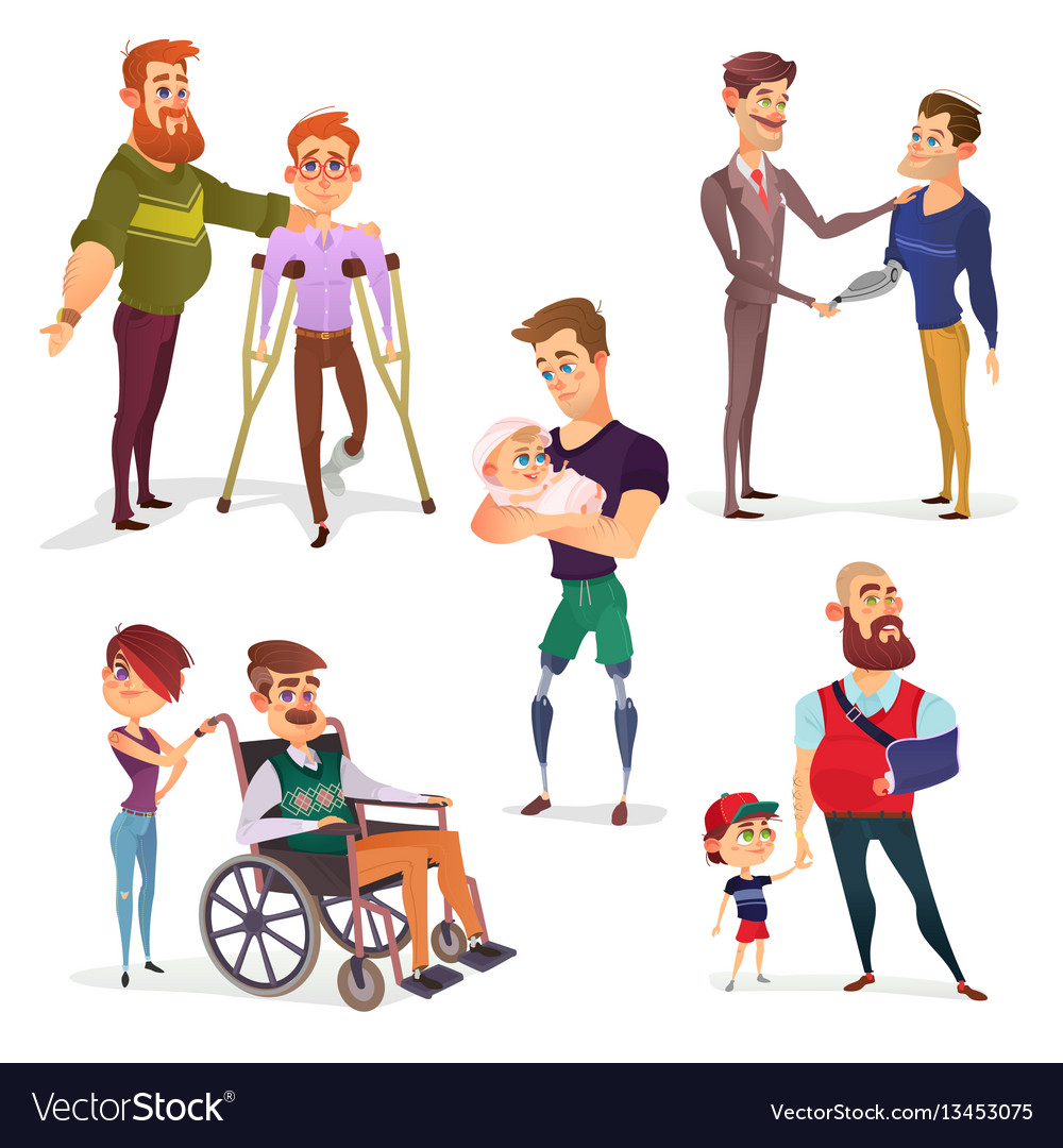 Set of cartoon of people with