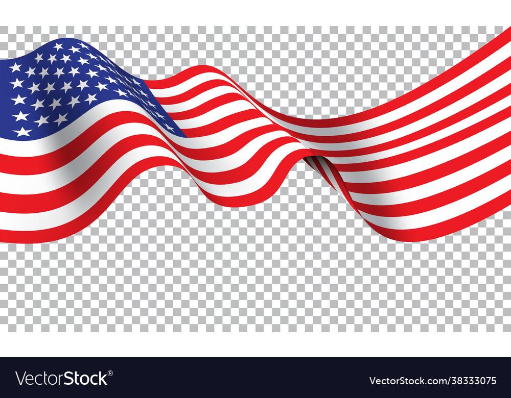 United state america flag wave on transparent b