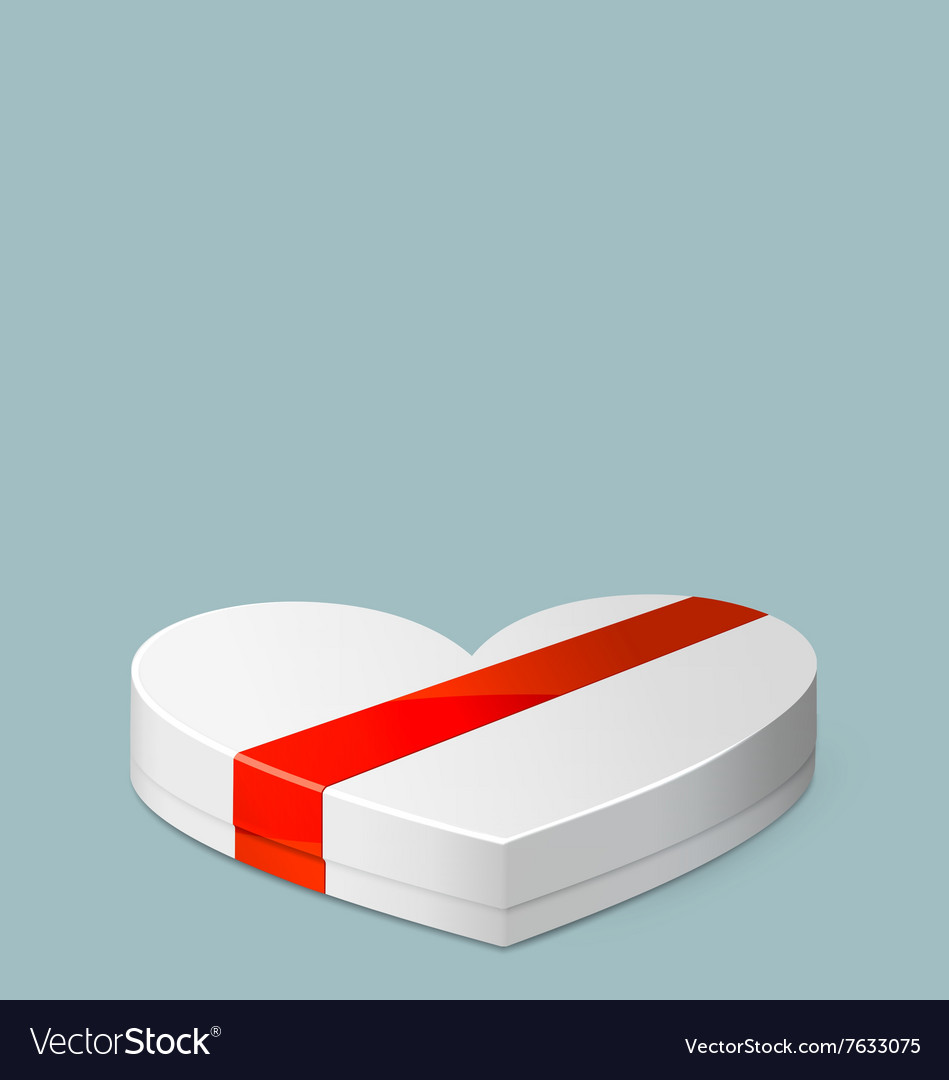 White Gift Box in Heart Shaped for Valentines Day vector image