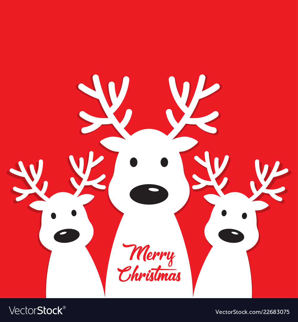 White reindeer on a red background