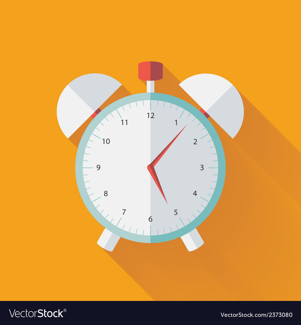 Alarm clock flat icon over yellow