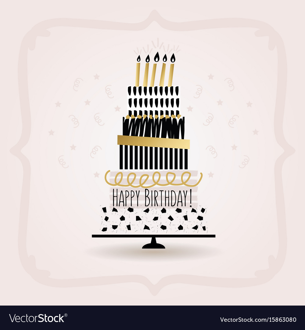 Black and golden happy birthday cake card on pink vector image