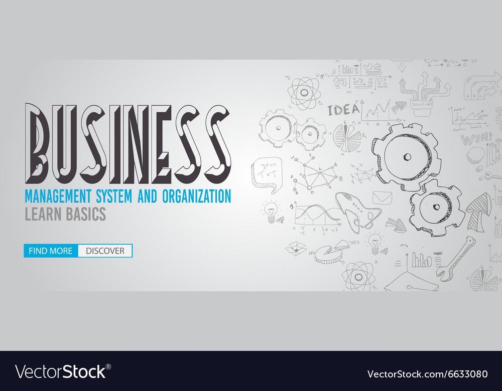 Business Management Concept with Doodle design