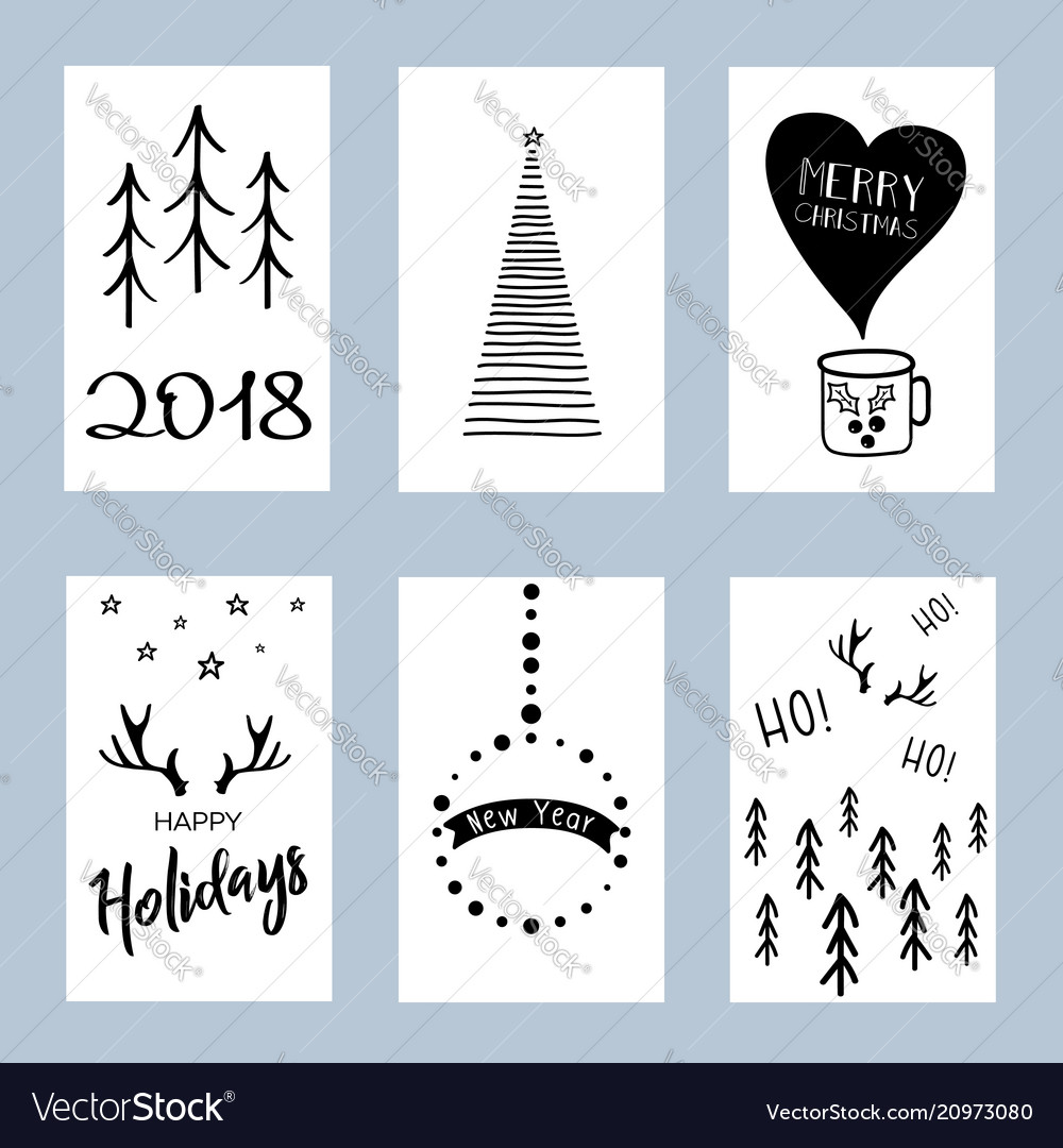 Christmas posters set set of winter holiday card