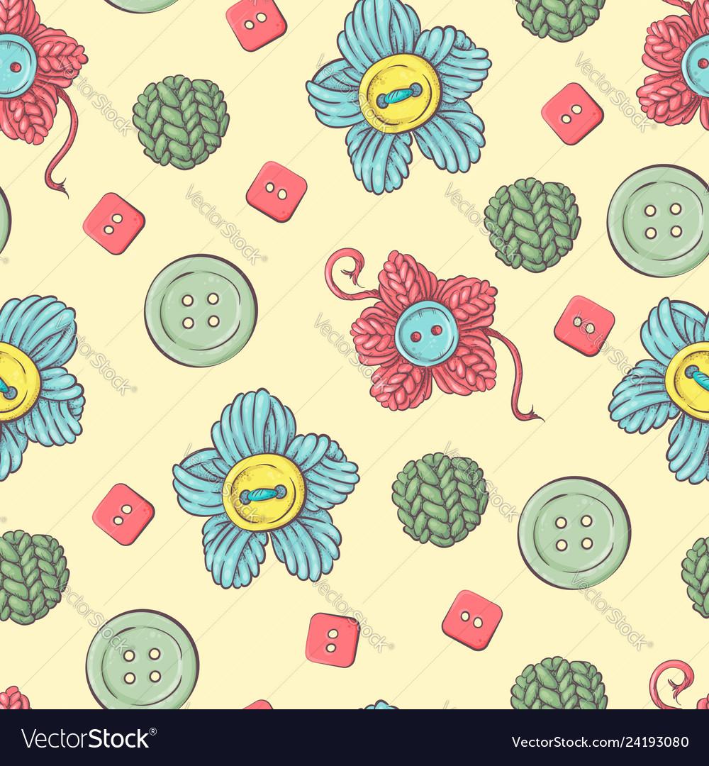 Cute seamless pattern of balls of yarn buttons