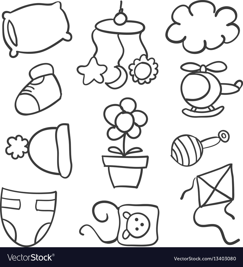 Doodle of baby style element vector image