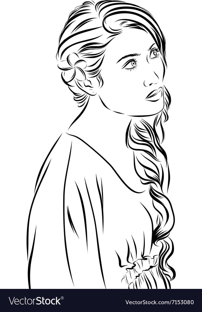 Fashion sketch girl in dress