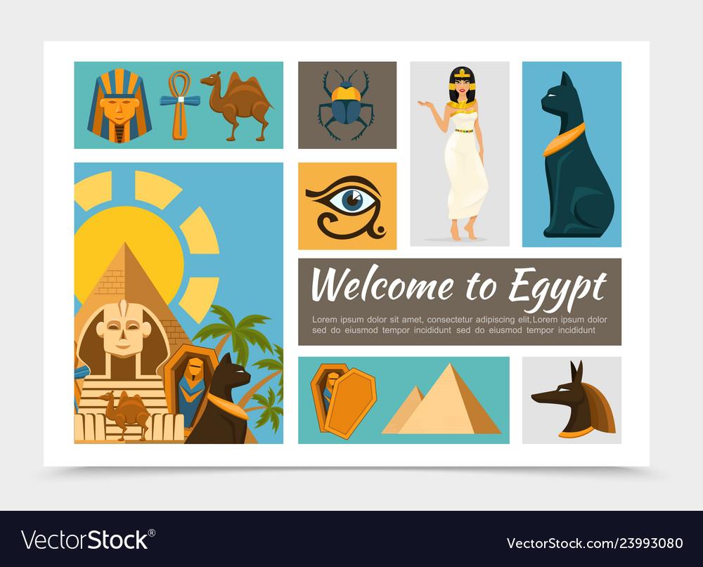 Flat egypt elements set