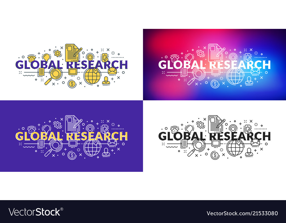 Global research flat line concept for web banner