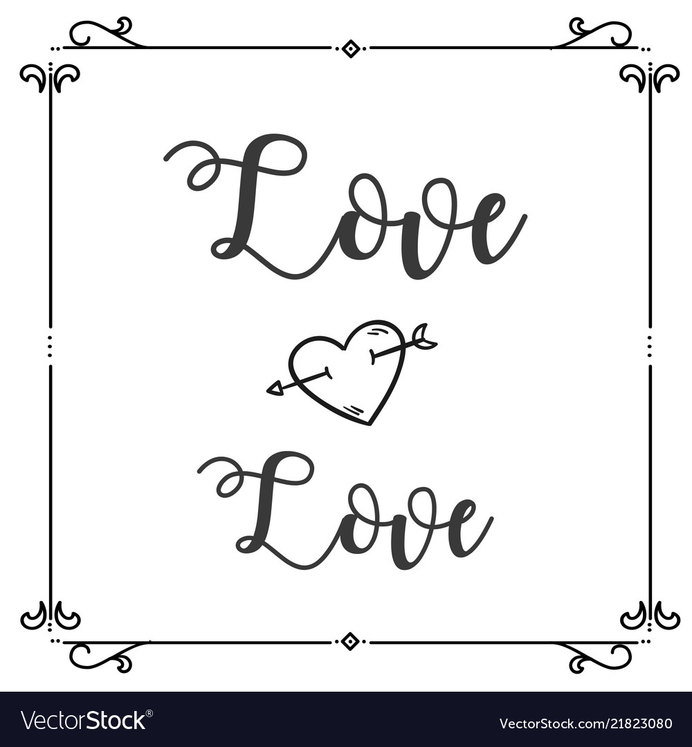 Love love heart arrow square frame background vect