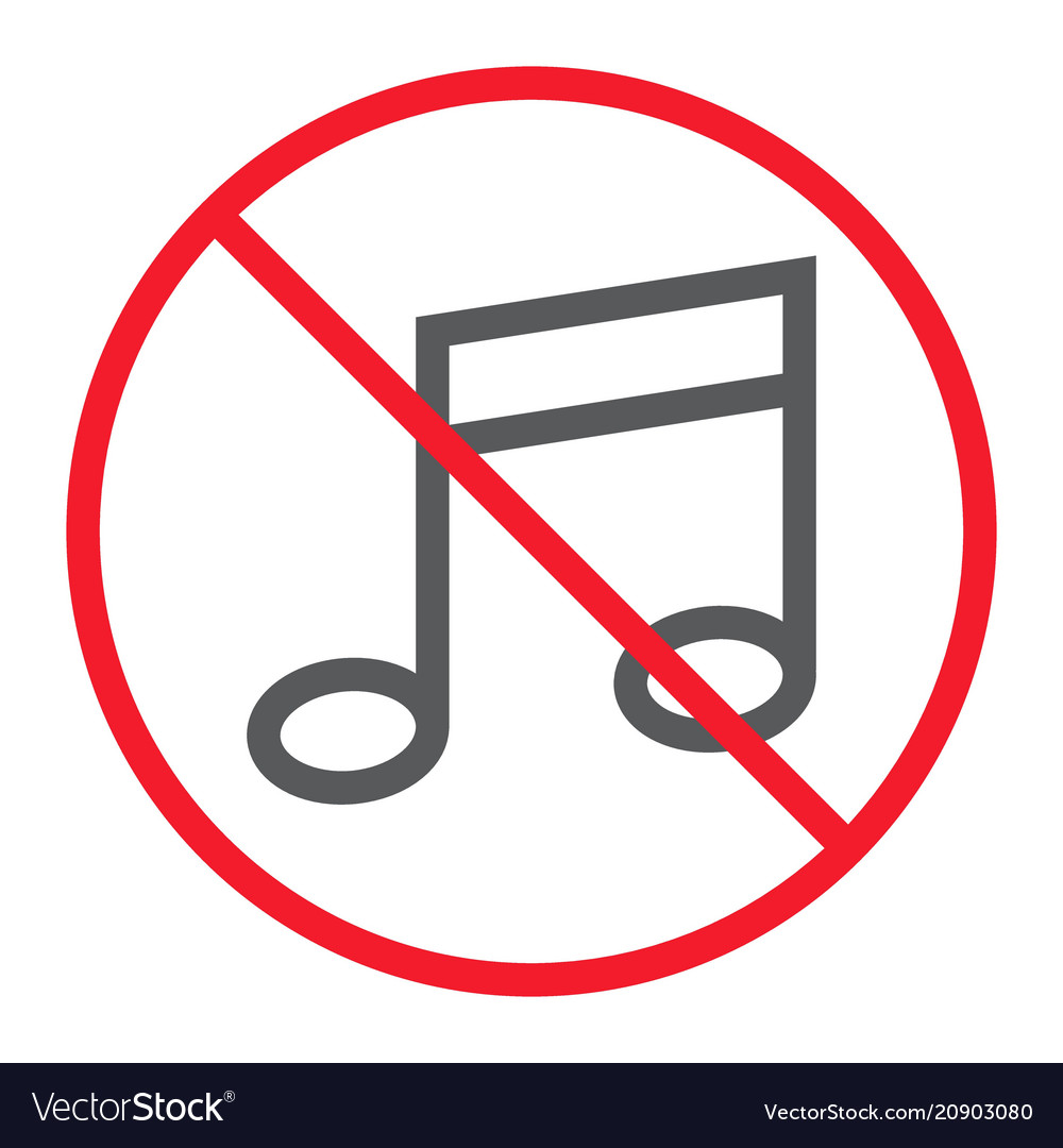 No music line icon prohibition and forbidden