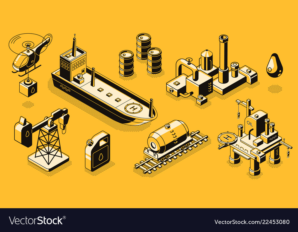 Oil industry objects isometric icons set