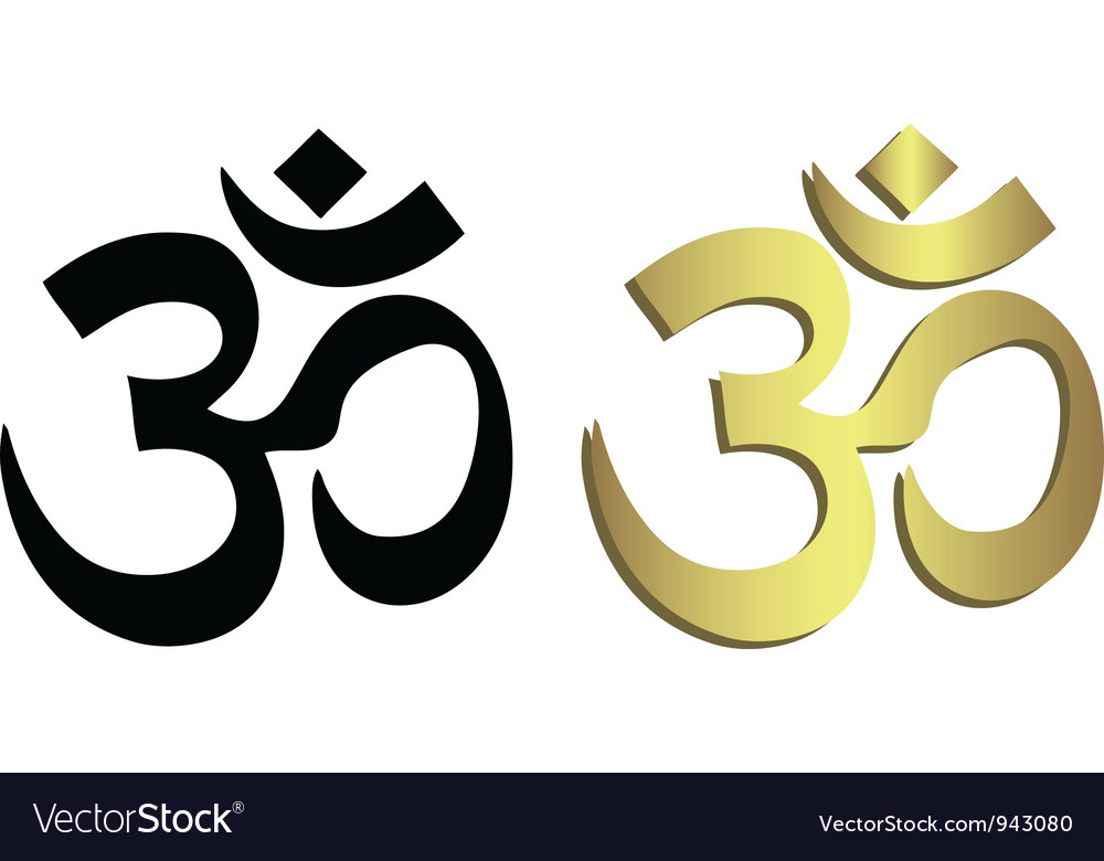 Om Symbol In Black And Gold Royalty Free Vector Image