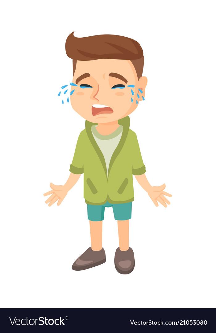 sad caucasian boy sobbing royalty free vector image