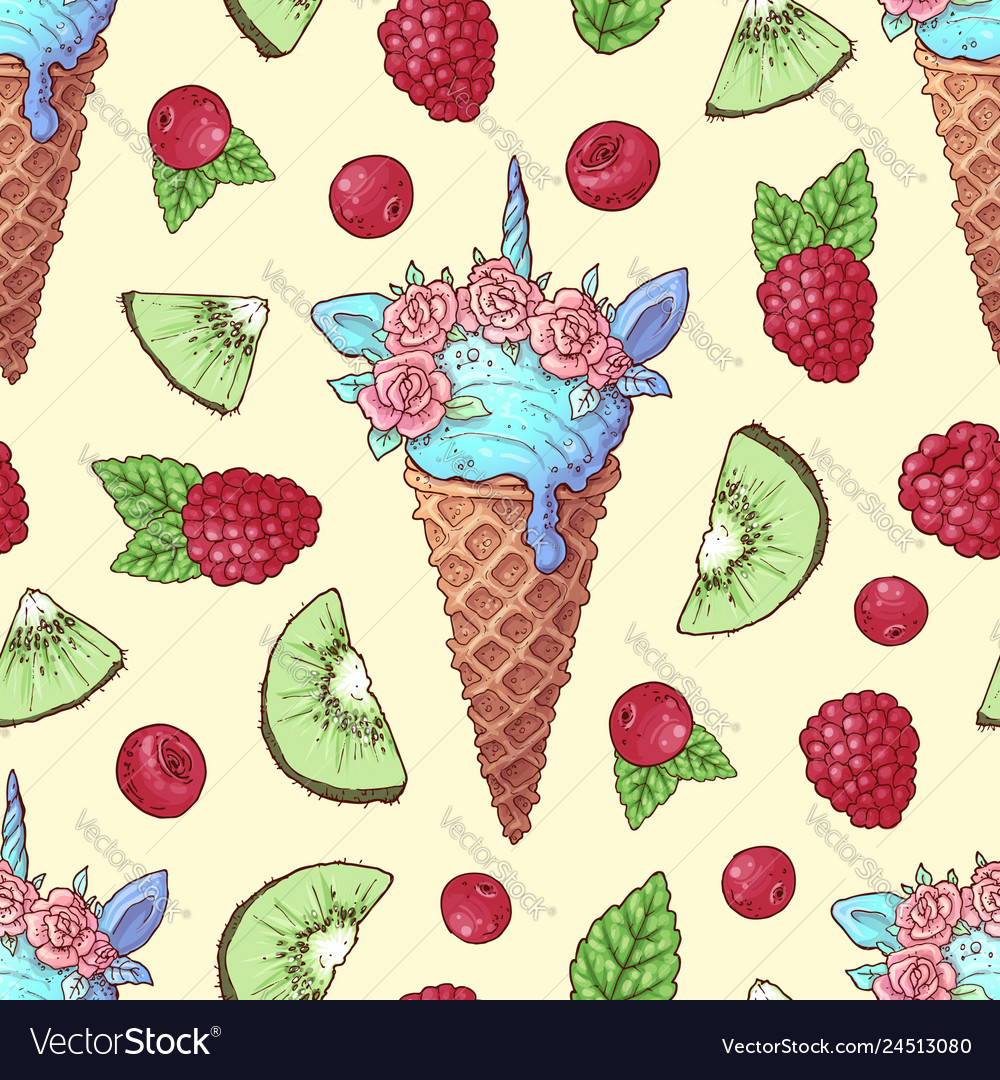 Seamless pattern ice cream kiwi raspberry cherry