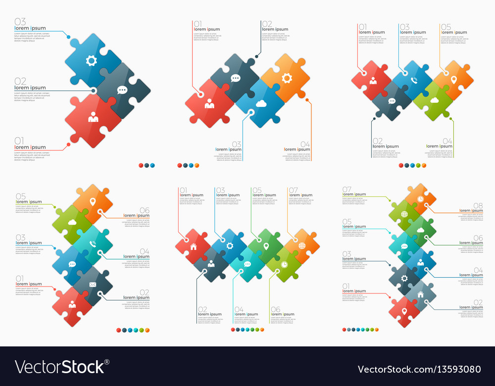 Set of 3-8 option infographic templates